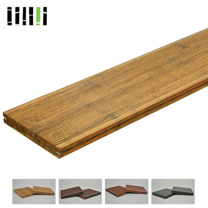 Heat Resistant Strand Woven Bamboo Flooring 18mm Thickness Easy Maintaining