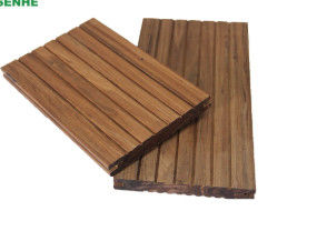 China Co Extrusion Interlock Strand Woven Bamboo Flooring 18mm Thickness Long Life distributor
